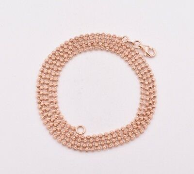 2mm Diamond Cut Moon Cut Ball Bead Chain Necklace Solid 14K Rose Gold Clad 925 Gold Diamond Cut Bead Chain