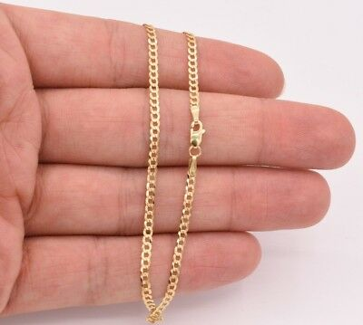 2.5mm Miami Curb Cuban Chain Pave Ankle Anklet Real SOLID 10K Yellow Gold 10""