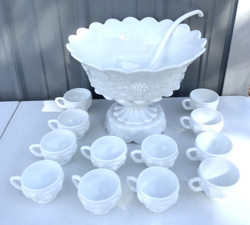 Westmoreland Milk Glass Paneled Grape Vine Punch Bowl Set Cups Ladle Pedestal