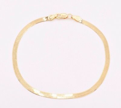 "3.00mm High Polish Herringbone Bracelet Real Solid 14K Yellow Gold 7"""