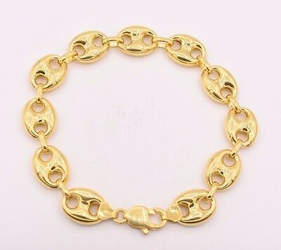 14mm Puffed Gucci Anchor Mariner Link Bracelet 14K Yellow Gold Clad Silver (Marine Links 14k Gold Bracelet)
