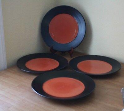 Black Rimmed Dinner Plate - PIER 1 EBONY RIM CORAL DINNER PLATE CHOP BUFFET 13