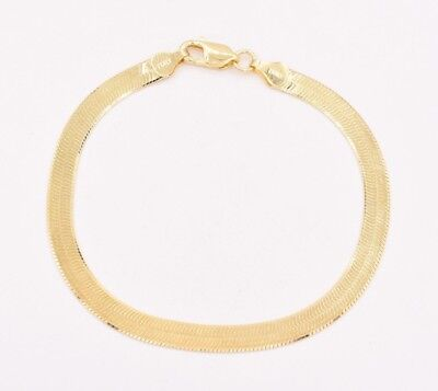 5.5mm Flexible Herringbone Bracelet 14K Yellow Gold Clad Silver 925 ITALY 7.5""