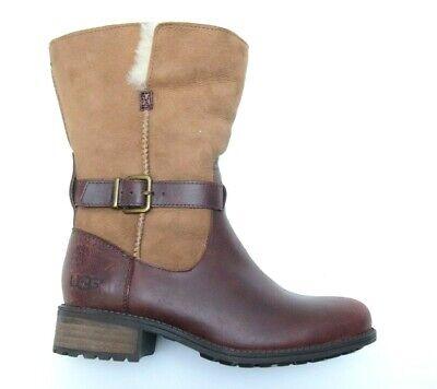 UGG Australia Women Pernille Chestnut Leather Sheepskin Lined Boots 1016045 US 6