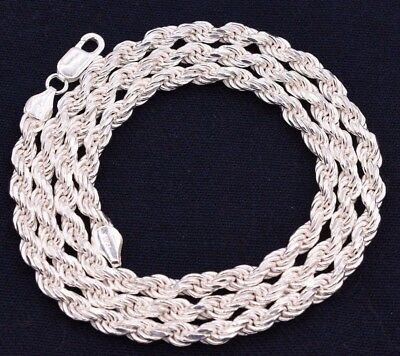 - 5mm Solid Diamond Cut Rope Chain Necklace Real 925 Sterling Silver Italy!