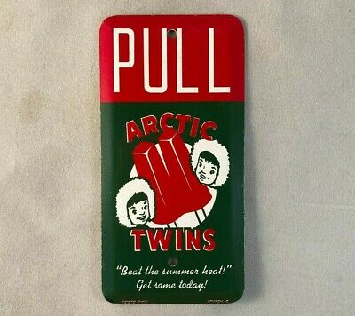 Vintage ARCTIC TWINS POPSICLE DOOR PUSH PULL Rare Old Advertising Sign