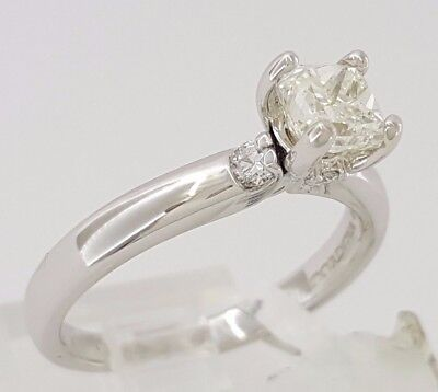 1.04 ct Cordova 14K White Gold Radiant Cut Diamond Solitaire Engagement Ring GIA 5