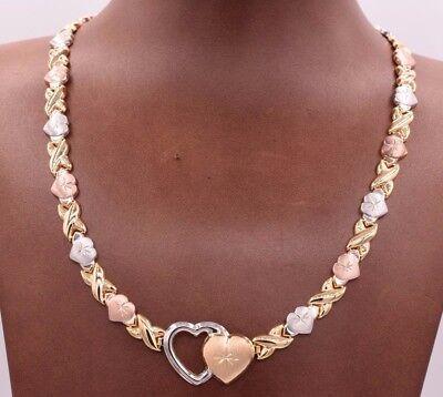 Hearts & Kisses Diamond Cut Necklace 14K Yellow White Rose Gold Clad Silver 925  14k Diamond Cut Heart