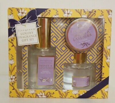 Livegreen 3PC Fragrance Set,Honey& Lavender, Room Spray/ Candle/Diffuser, NIB Lavender Room Diffuser