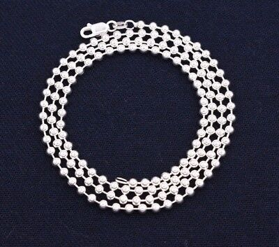 3mm Plain Shiny Bead Ball Chain Necklace Real Solid Sterling Silver 925