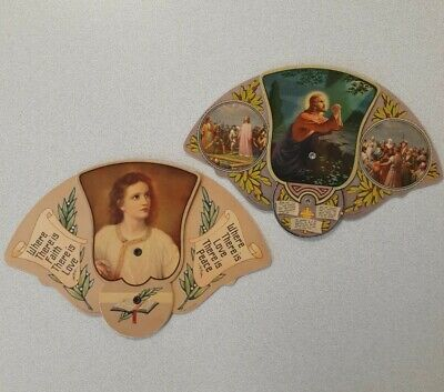 2pc Vintage RELIGIOUS Tri-Fold Funeral Home & Store Hand Fan