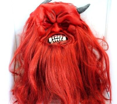 Halloween Long  red haired devil latex rubber mask 25 inch hair and  beard - Red Beard Kostüm