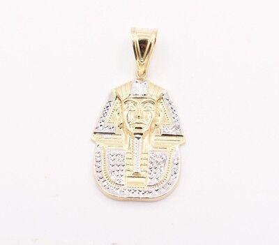 "2"" Pharaoh Egyptian King Diamond Cut Pendant Real 10K Yellow White Gold"