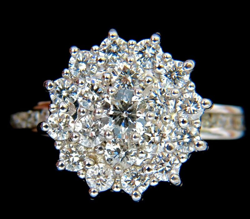 1.10ct Wide Raised Cocktail Diamonds Ring G/vs 18kt $4000 Certificate