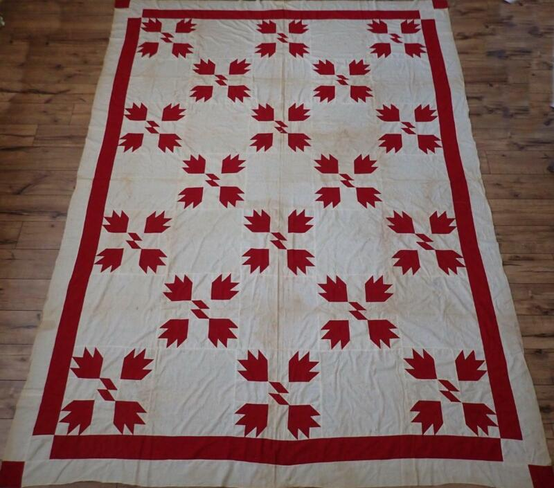 Expertly Handpieced Antique c1880s Turkey Red & Cream Bear Paw Quilt Top 100x75