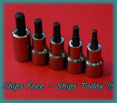 Craftsman 3 8  Drive 5Pc Piece Hex Bit Allen Key Sae Socket Set Standard Inch