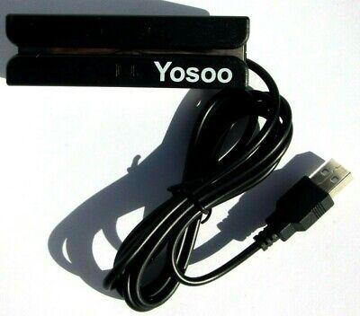 Yosoo Credit Card Swipe Reader Triple Track Magnetic Strip Usb New