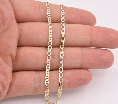 3mm Anchor Mariner Chain Pave Ankle Anklet Real SOLID 10K Yellow White Gold 10""