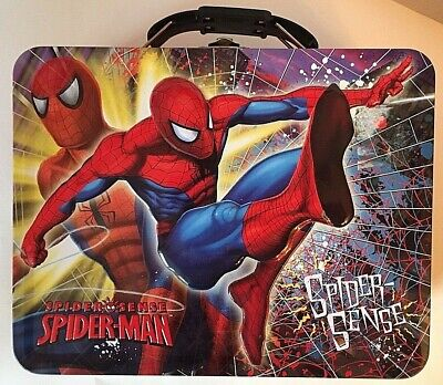 Collectible Metal Lunch  Box Embossed Marvel Hero SPIDERMAN Spider Sense