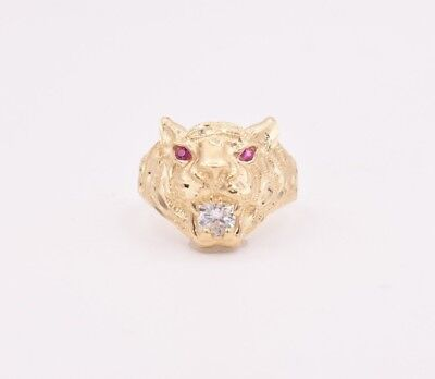 Men's Tiger Head Ring Ruby Eyes & CZ Real Solid 10K Yellow Gold Size - Gold Ruby Eyes