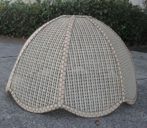 Vintage Rattan Wicker Woven Large Boho Shade EUC 70s