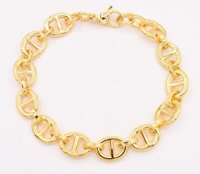 Puffed Mariner Anchor Gucci Bracelet 14K Yellow Gold Clad Stainless Steel