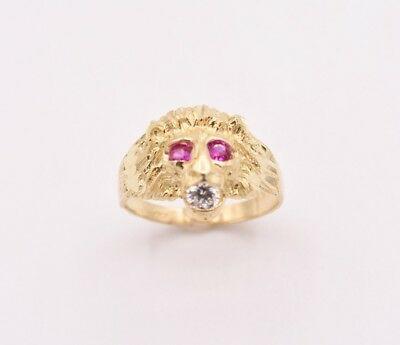 Men's Unisex Lion Head Ring Ruby Eyes & CZ Real Solid 10K Yellow Gold Size - Gold Ruby Eyes