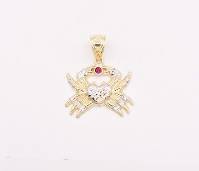"""1 1/4"""" Crab Insect Animal  Ruby Diamond Cut Pendant Real 10K Yellow White Gold"""