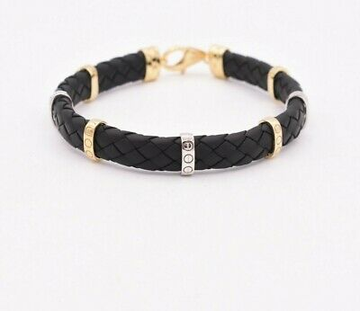 Mens Screw Design Black Leather Woven Bracelet Real 14K Yellow White Gold Mens White Gold Bangle