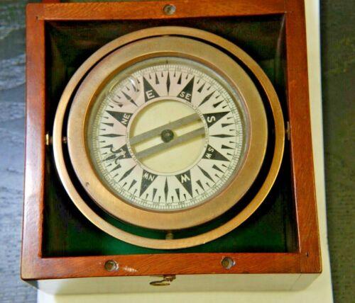 ANTIQUE LIQUID COMPASS - E.M. SHERMAN SEATTLE WA  STAR DESIGN - 7.5 X 7.7 X 4.25