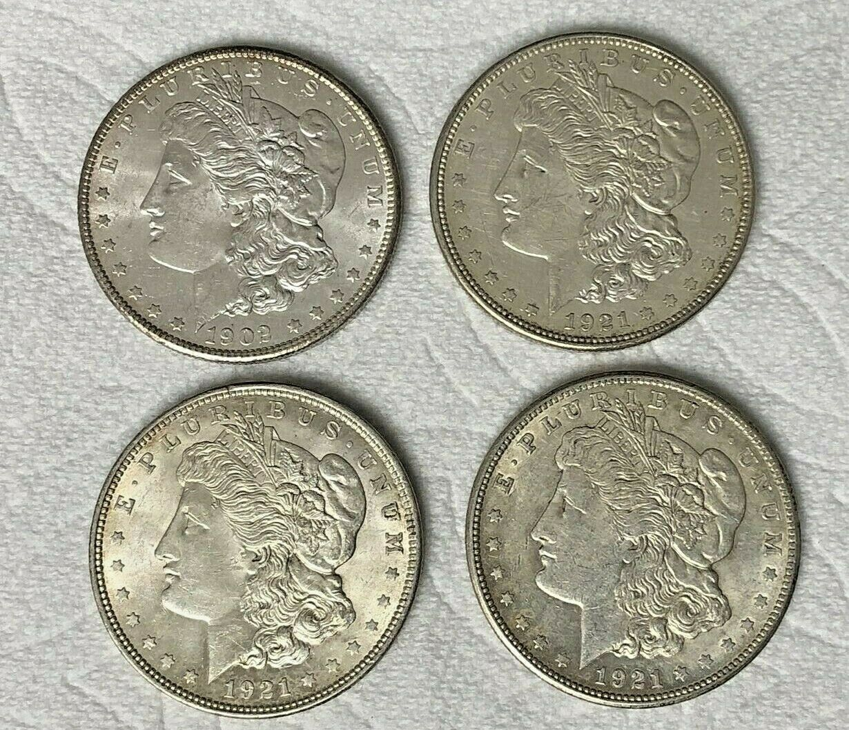 4 MORGAN SILVER DOLLARS 1902-O, 1921-P, 1921-D, 1921-S SILVER COIN LOT B3-13  - $118.50