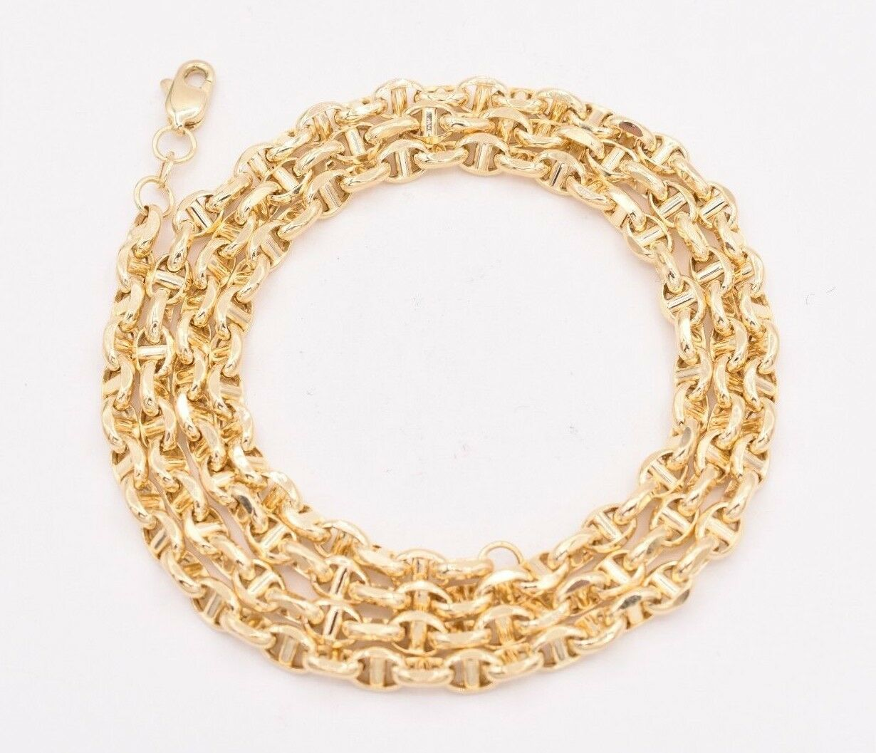 6 7 10, 18 20 or 24 inch 14K Yellow Gold 4.7mm Shiny Puffed Mariner Chain Necklace or Bracelet Bangle for Pendants and Charms with Lobster-Claw Clasp