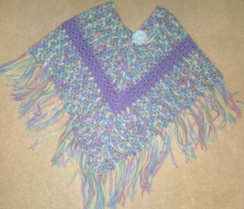 Beautiful Girls Pastel Colored Lace Crocheted Triangle Cape / Shawl / Poncho