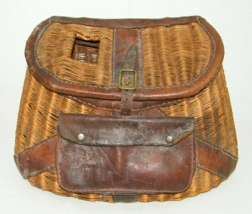 VINTAGE WOVEN WICKER AND LEATHER FISHERMANS CREEL BASKET STRAPS POUCH