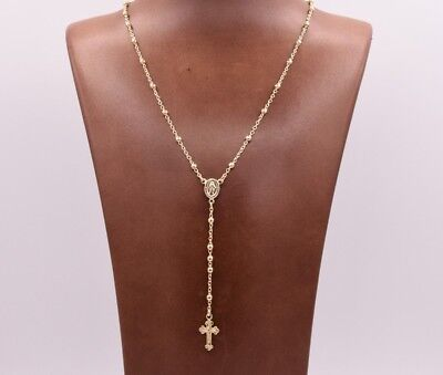 3mm Rosary Shiny Chain Necklace 14K Yellow Gold Clad Silver Italian ALL SIZES Italian Yellow Gold Chain