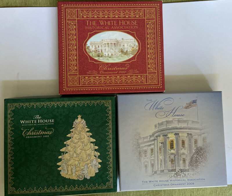 2007, 2008, & 2009 The White House Historican Assoc. Christmas Ornaments