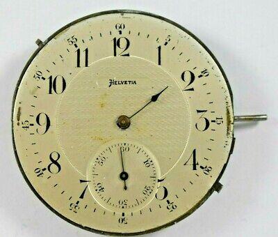 Helvetia WWII Era 45mm Pocket Watch Movement Good Balance lot.c
