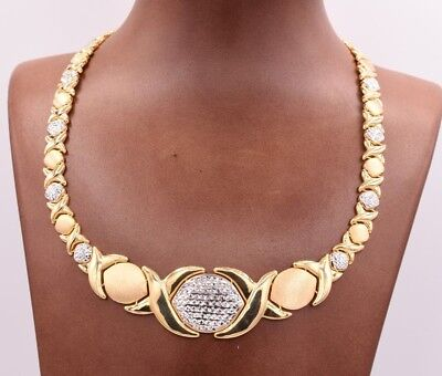 Graduated Hugs & Kisses Chain Necklace 14K Yellow White Gold Clad Silver 925 XOX