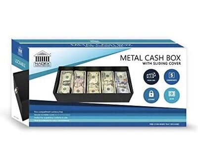 Nadex Lockable Sliding Lid Cash Box Coin Tray