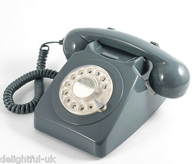 GPO 746 Telephone - Retro Vintage Style Desk Phone - Working Rotary Dial - Grey
