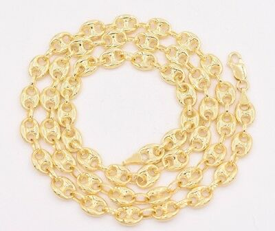 7mm Puffed Gucci Mariner Link Chain Necklace Real 14K Yellow Gold (14k Mariner Link Chain)