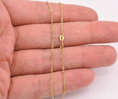"9"" Thin Figaro Link Chain Bracelet Anklet Ankle Real Solid 10K Yellow Gold"