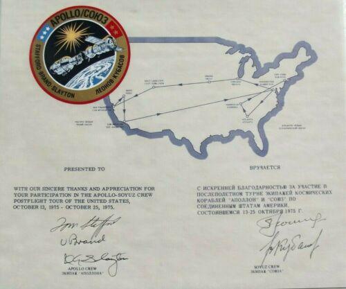 Apollo - Soyuz Crews Signed World Tour Commemorative Zarelli Authenticated