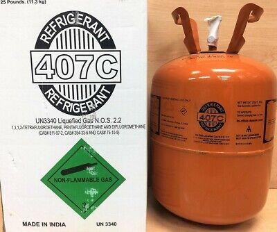 R407c Refrigerant 25lb Cylinder- R-407c New Usa Factory Sealed- R22 Replacement
