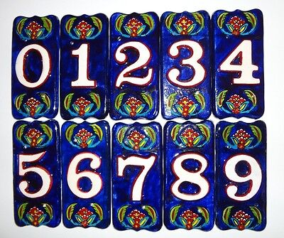 House Address Numbers Ceramic Tile Handmade Hand Painted Anatolian Flower -