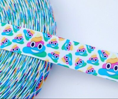 Rainbow Poop Emoji Grosgrain Ribbon |  Emoji Rainbow Ribbon By The Yard - Rainbow Poop