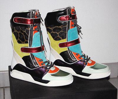 Dolce & Gabbana Multicolor Leather Mid Calf Leopard Print Sneakers sz US 8 $1460