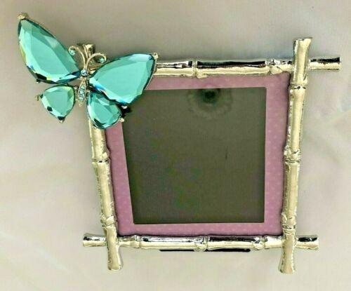 "Metal 5.5X6"" Blue Butterfly Rhinestone Figurine Frame Holds 4X4"" Photo"