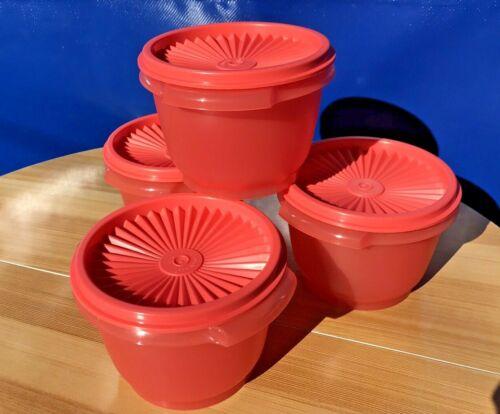 Tupperware Servalier 20oz Bowls & Liquid Tight Seals Set of 4 Coral color New!!!