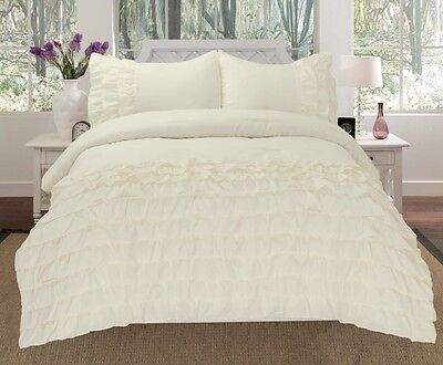 Katy 3 Piece Mini Ruffle Comforter Set Bed Cover New Arriva All Size Ivory Beige 3 Piece Mini Comforter